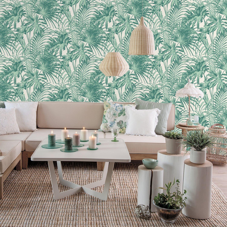 Papier Peint Pour Bureau papier peint avec un feuillage vert et blanc | leroy merlin