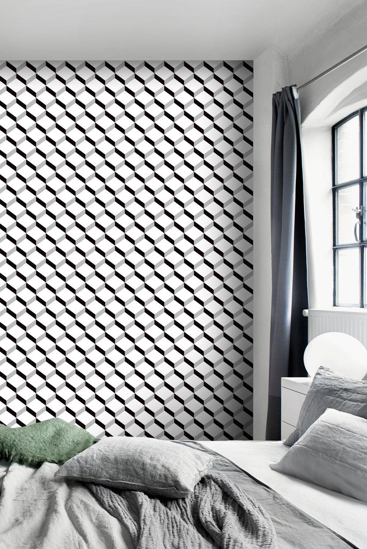 Le papier peint noir et blanc sur un pan de mur de la ...