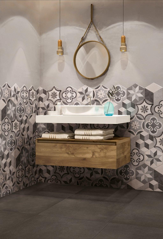 Faïence hexagonale dans la salle de bains  Leroy Merlin