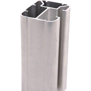 Poteau aluminium en h gris, H.231.5 x l.5 x P.6.5 cm