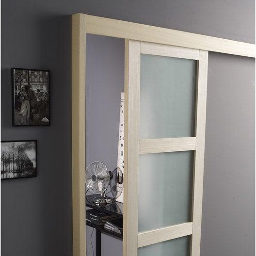 Rail coulissant et habillage jazz artens pour porte de largeur 93 cm maximum leroy merlin - Habillage de porte interieure ...
