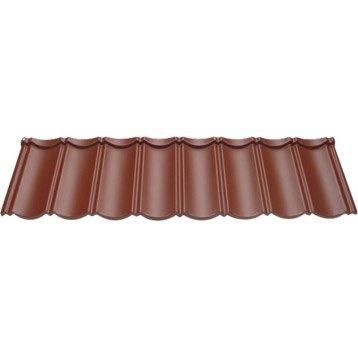 Plaque imit.  tuile aluminium rouge foncé FIRST PLAST Olandese l.1.47xL.0.41m