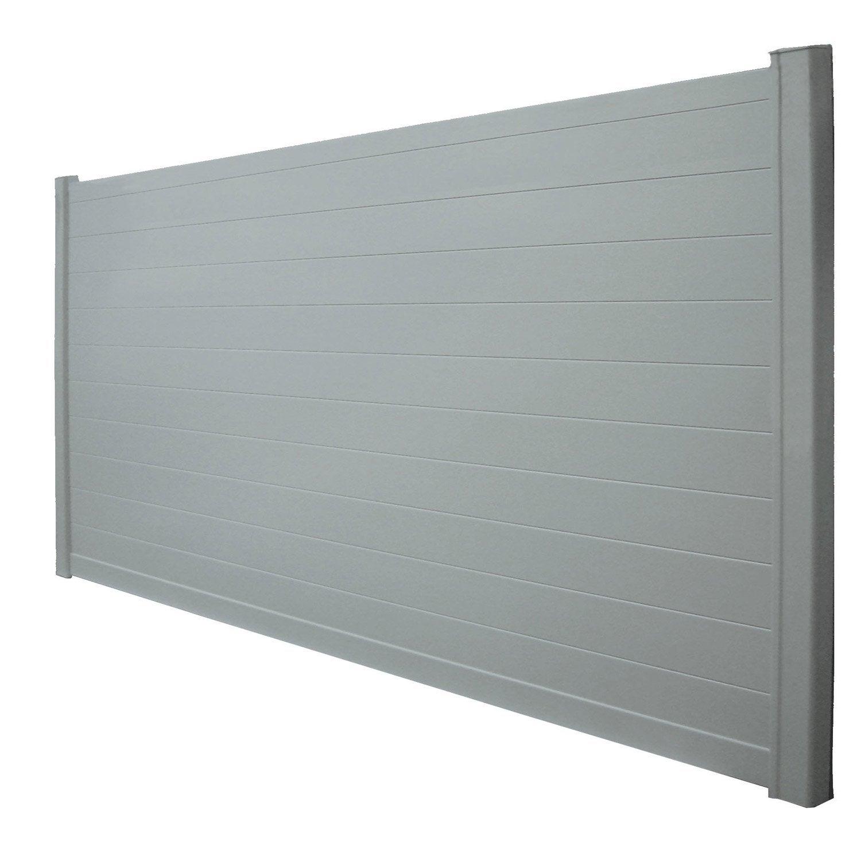 Portail Coulissant Aluminium Lao Gris Galet Naterial L 312 Cm X H