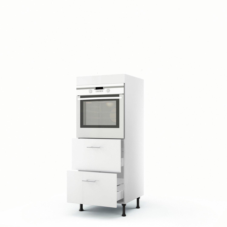 Meuble de cuisine demi-colonne blanc four + 2 tiroirs Rio H.140 x l ...