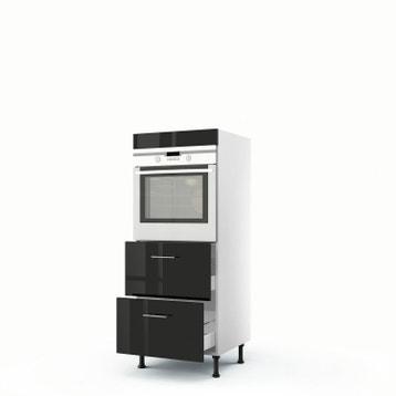 meuble de cuisine demi colonne noir four 2 tiroirs rio h140 x