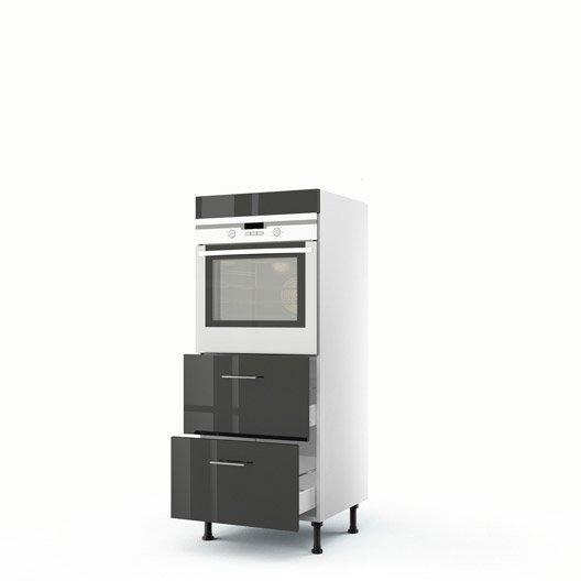 Meuble de cuisine demi colonne gris four 2 tiroirs rio h - Colonne de cuisine 60 cm ...