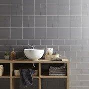 Faïence mur gris galet, Astuce l.10 x L.20 cm