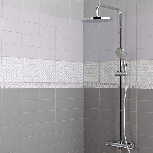Fa ence mur gris galet astuce x cm leroy merlin - Listel salle de bain castorama ...