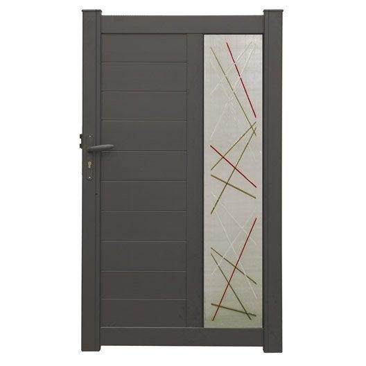 portillon battant naterial vic x cm gris anthracite leroy merlin. Black Bedroom Furniture Sets. Home Design Ideas