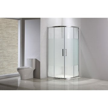 Porte de douche coulissante, angle 1/4 de cercle, 80 x 80 cm, sérigraphié, Quad
