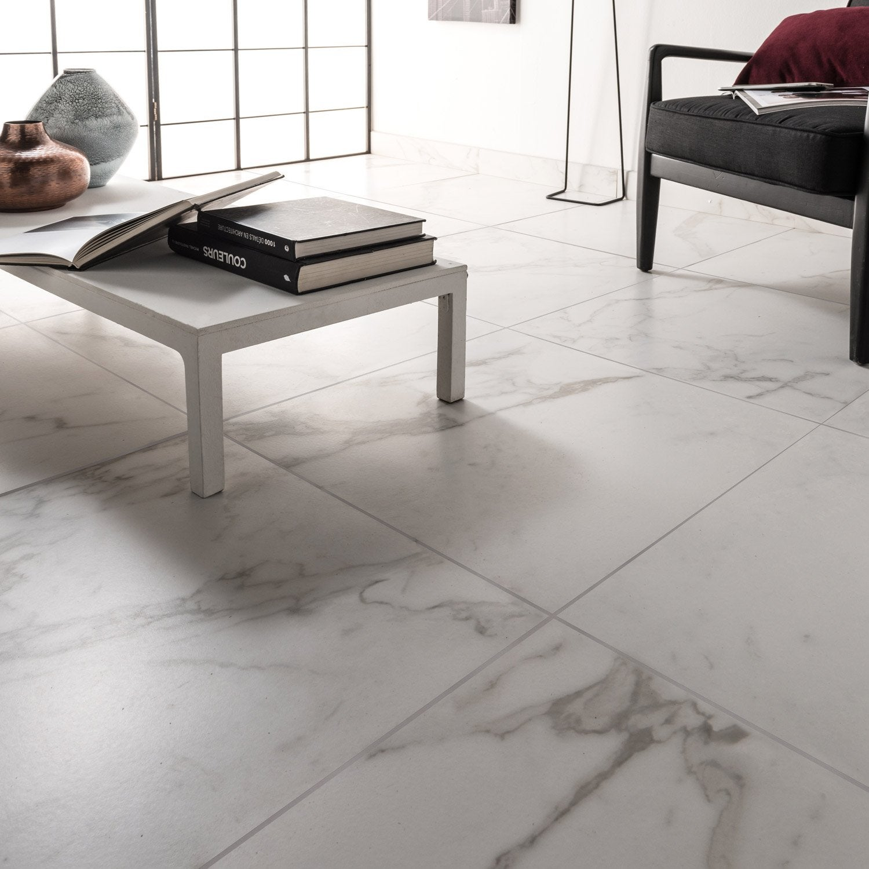 Carrelage sol et mur blanc carare effet marbre Murano l.60 x L.60 ...