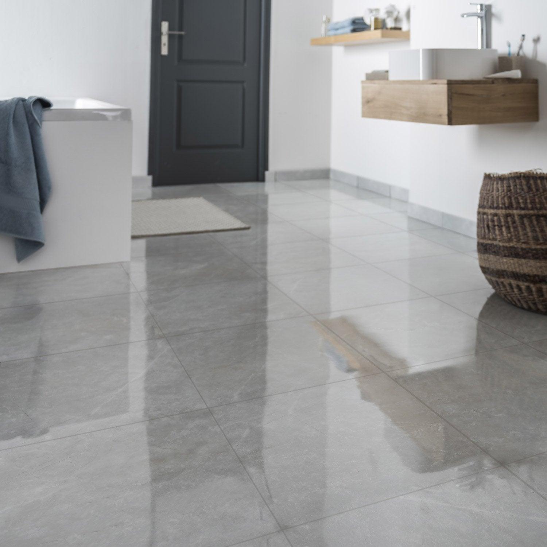 Carrelage sol et mur gris effet marbre trieste x l for Carrelage brillant sol