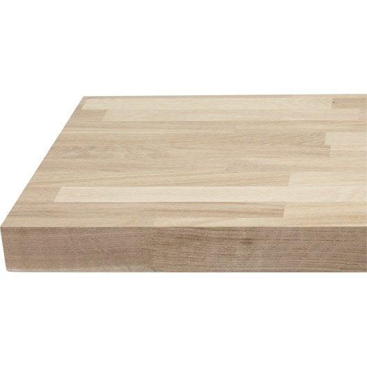 plan de travail droit ch ne brut 250 x 65 cm p 38 mm leroy merlin. Black Bedroom Furniture Sets. Home Design Ideas