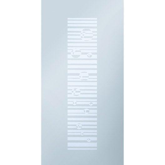 Porte coulissante verre tremp sable eclisse 204 x 83 cm for Porte interieure vitree 83 cm