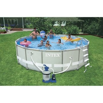 Piscine piscine hors sol gonflable tubulaire leroy for Piscine hors sol intex 5 49