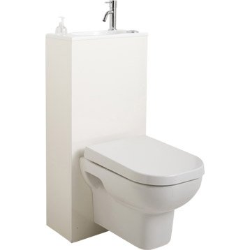 Wc suspendu wc abattant et lave mains leroy merlin for Wc gain de place villeroy et boch