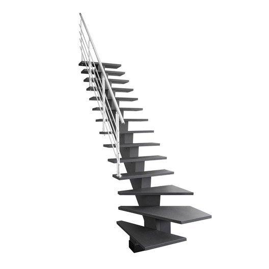 escalier quart tournant bas gomera marches structure mdf gris anthracite fonc leroy merlin. Black Bedroom Furniture Sets. Home Design Ideas