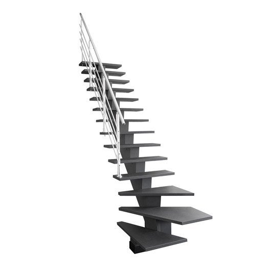 Escalier quart tournant bas gauche gomera m dium mdf leroy merlin - Leroy merlin escaliers ...