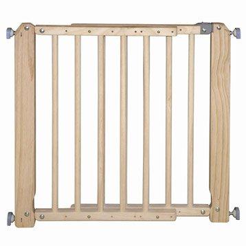 Barrière de sécurité enfant bois, L.69/105 cm, H.73 cm