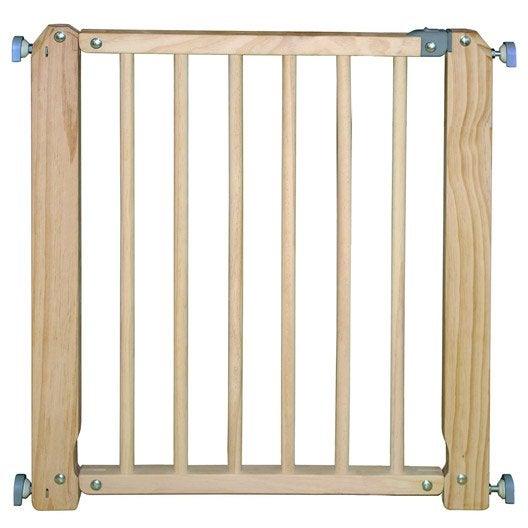 Barrière de sécurité enfant en bois naturel, long. min/max 70/76 cm