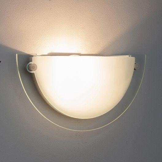 Applique doble 1 x 60 w verre blanc inspire leroy merlin - Applique murale interieur leroy merlin ...