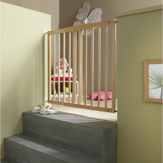 Barri re de s curit enfant nevada en bois long min max 70 106 cm h70 cm - Leroy merlin barriere de securite ...