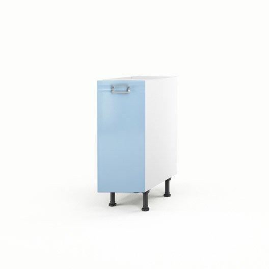 Meuble de cuisine bas bleu 1 porte crystal x x p for Meuble bas cuisine 30 cm