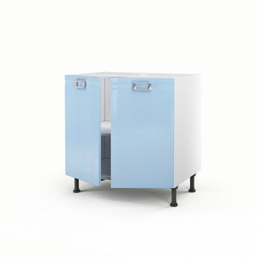 Meuble de cuisine bas bleu 2 portes crystal x x for Meuble bas cuisine hauteur 80 cm