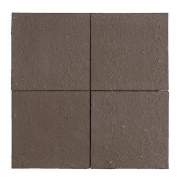 Terre cuite sol et mur brun effet pierre Rairies liberti l.16 x L.16 cm