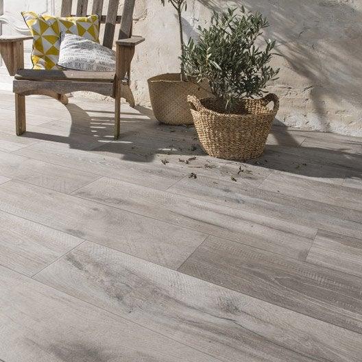 Carrelage sol gris effet bois heritage x cm for Carrelage exterieur gris imitation bois