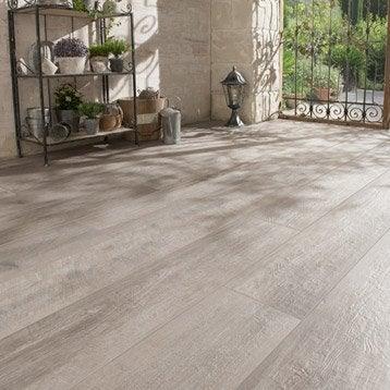 Carrelage sol gris effet bois Heritage l.20 x L.120 cm