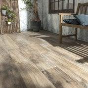 Carrelage sol brun foncé effet bois Heritage l.20 x L.120 cm