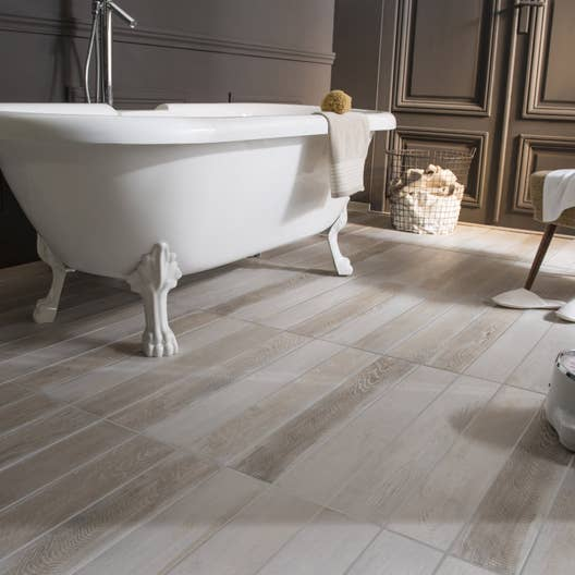 carrelage sol et mur blanc effet bois lousiane x cm leroy merlin