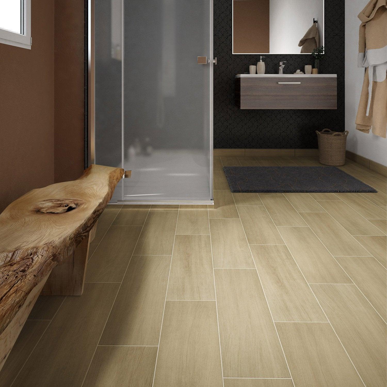Carrelage sol et mur beige clair effet bois Helsinka l.20 x L.60 cm ...