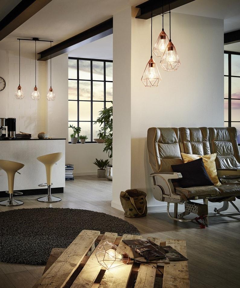 Des luminaires style industriel dans le salon leroy merlin - Objetos decorativos salon ...