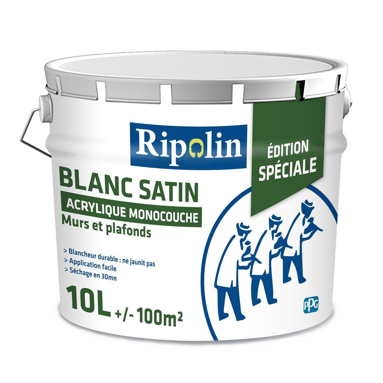 Peinture blanche mur et plaf RIPOLIN, satin 10 l