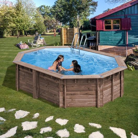 Piscine hors sol bois l x l x h m leroy merlin - Dalle piscine hors sol ...