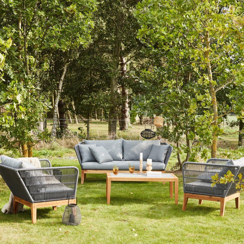 Salon de jardin bas qui mixe le bois et un cordage gris | Leroy Merlin