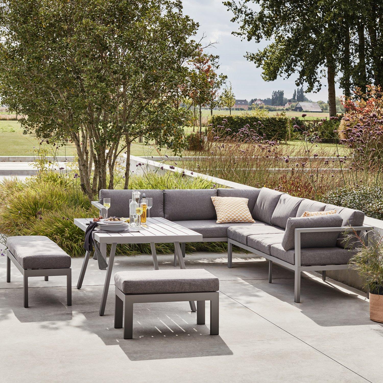 Un salon de jardin en alu avec un canapé d\'angle | Leroy Merlin