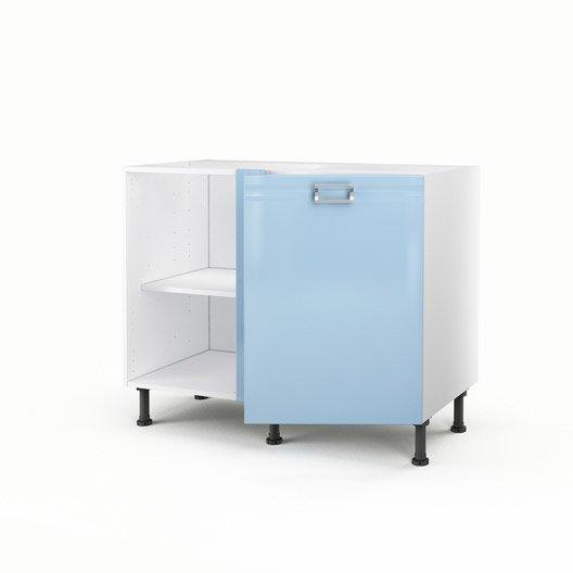 Meuble de cuisine bas d 39 angle bleu 1 porte crystal h70xl100xp56 cm ler - Meuble bas angle cuisine leroy merlin ...
