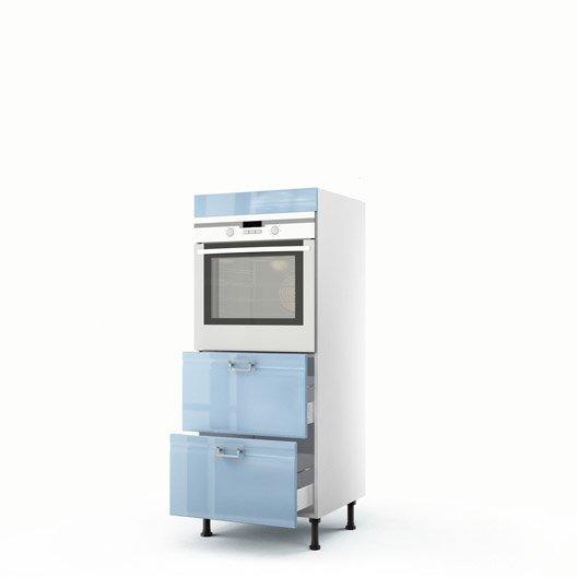 demi colonne bleu four 2 tiroirs crystal h140xl60xp56 cm leroy merlin. Black Bedroom Furniture Sets. Home Design Ideas