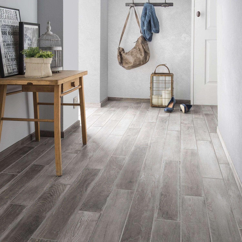 carrelage sol et mur gris clair effet bois lousiane x
