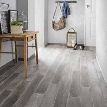 Carrelage sol et mur gris clair effet bois Lousiane l.10 x L.70 cm