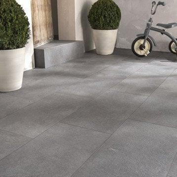 Carrelage gris effet pierre Ypres l.30 x L.60 cm