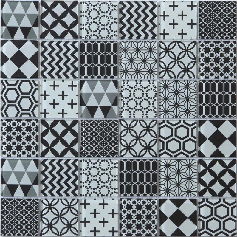 Mosaique Mur Shaker Decor Noir Et Blanc Leroy Merlin