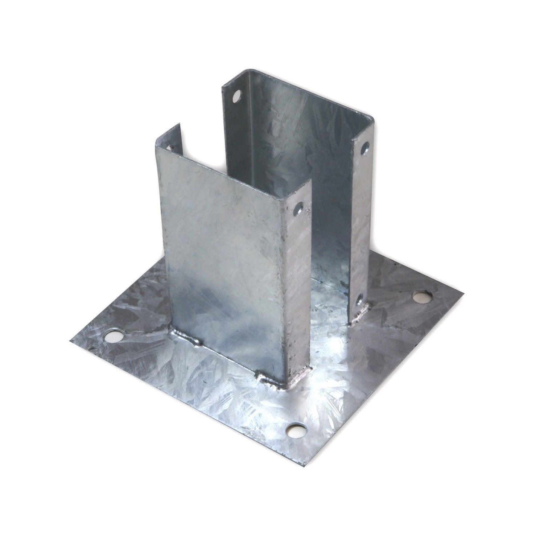 support à fixer acier gris, h.15 x l.9 x p.9 cm | leroy merlin