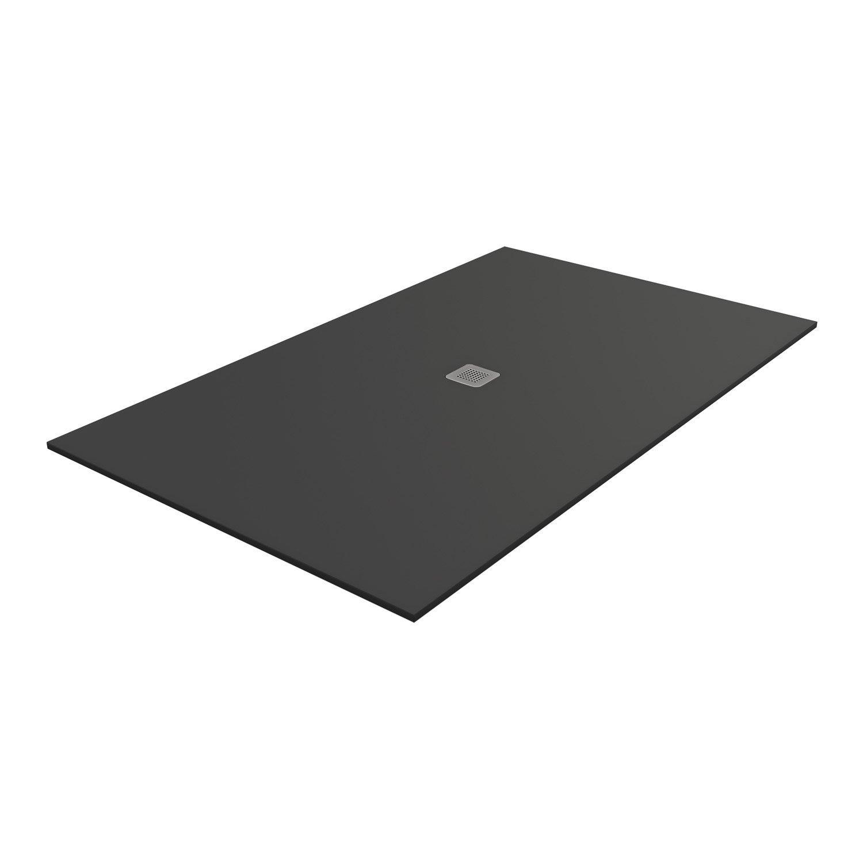 Receveur de douche rectangulaire L.180 x l.80 cm, pierre noir Kioto2 ...