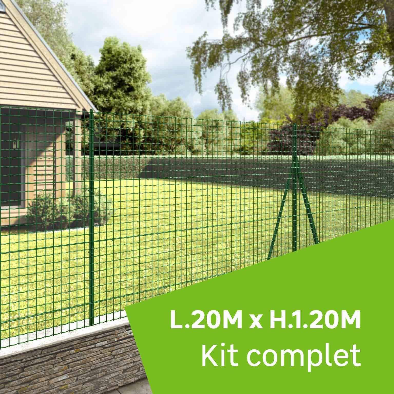 Grillage Jardin Hauteur 2M kit grillage rouleau 20 m sur platine, forte medium vert, h.1.2 m