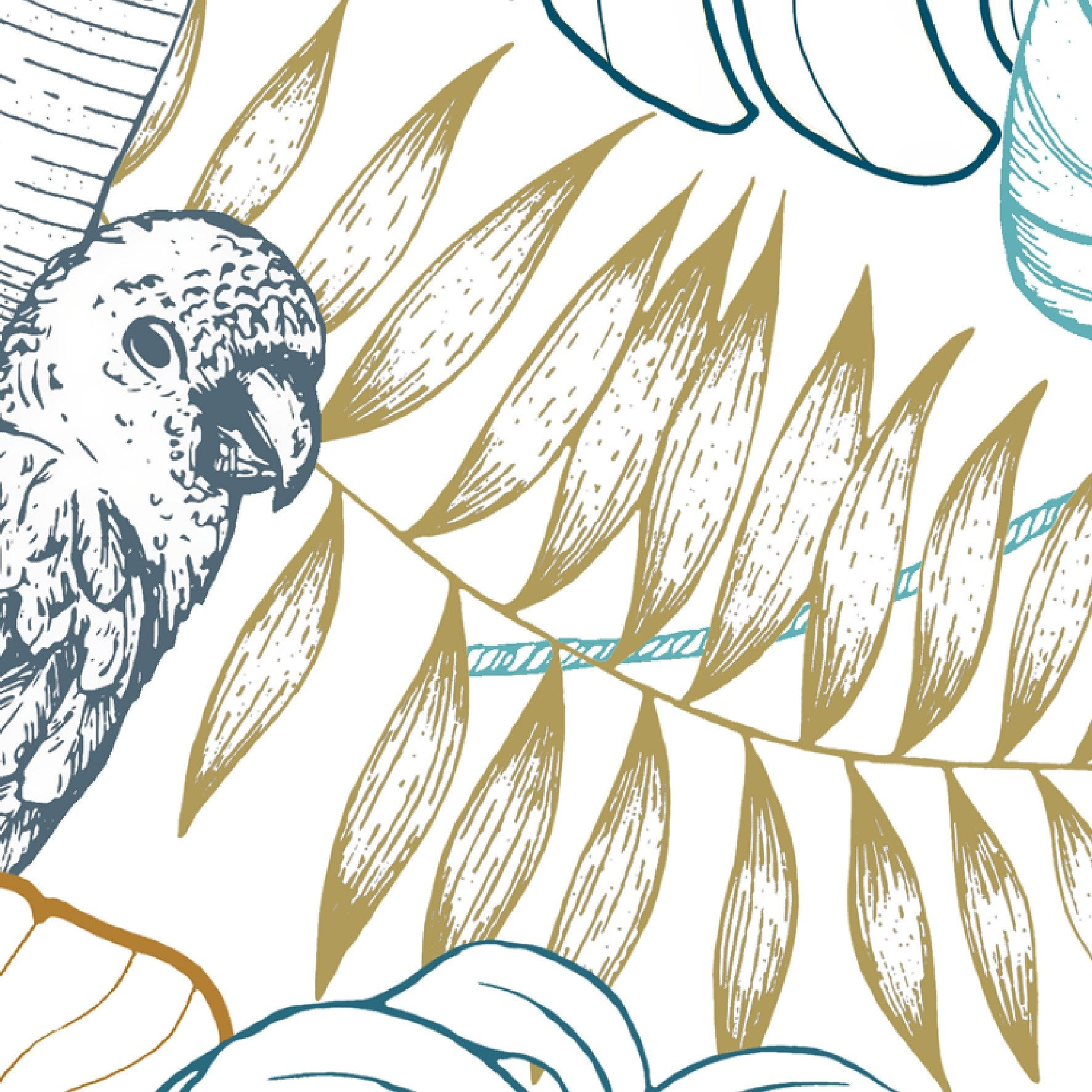 Papier Peint Avec Perroquet papier peint intissé sejours & chambres perroquet graphique bleu