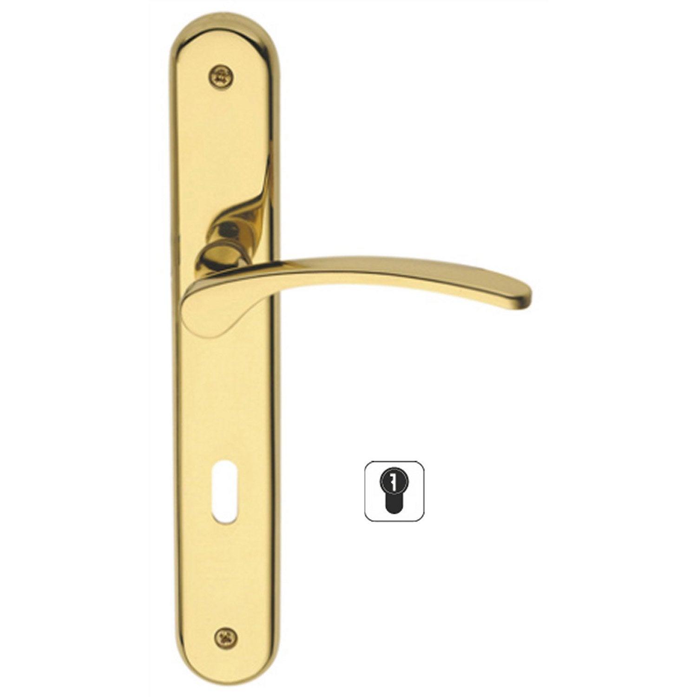 2 poign es de porte eva trou de cylindre laiton poli 195 mm leroy merlin - Cylindre de porte ...